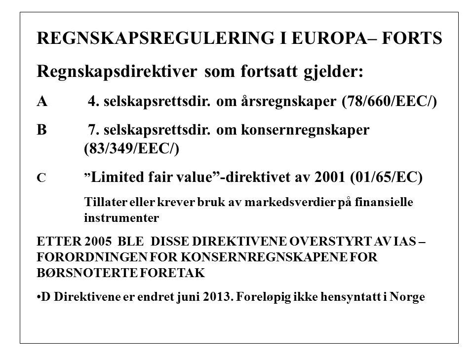 REGNSKAPSREGULERING I EUROPA– FORTS Regnskapsdirektiver som fortsatt gjelder: A 4.