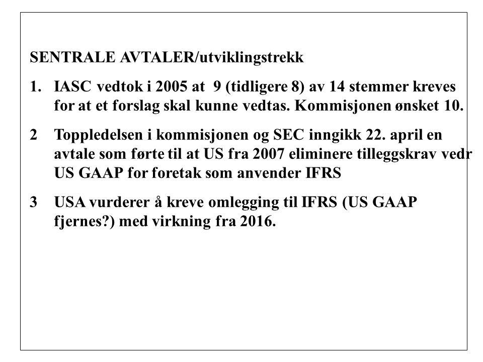 SENTRALE AVTALER/utviklingstrekk 1.IASC vedtok i 2005 at 9 (tidligere 8) av 14 stemmer kreves for at et forslag skal kunne vedtas.
