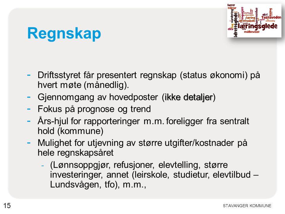 STAVANGER KOMMUNE Regnskap - Driftsstyret får presentert regnskap (status økonomi) på hvert møte (månedlig). ikke detaljer - Gjennomgang av hovedposte