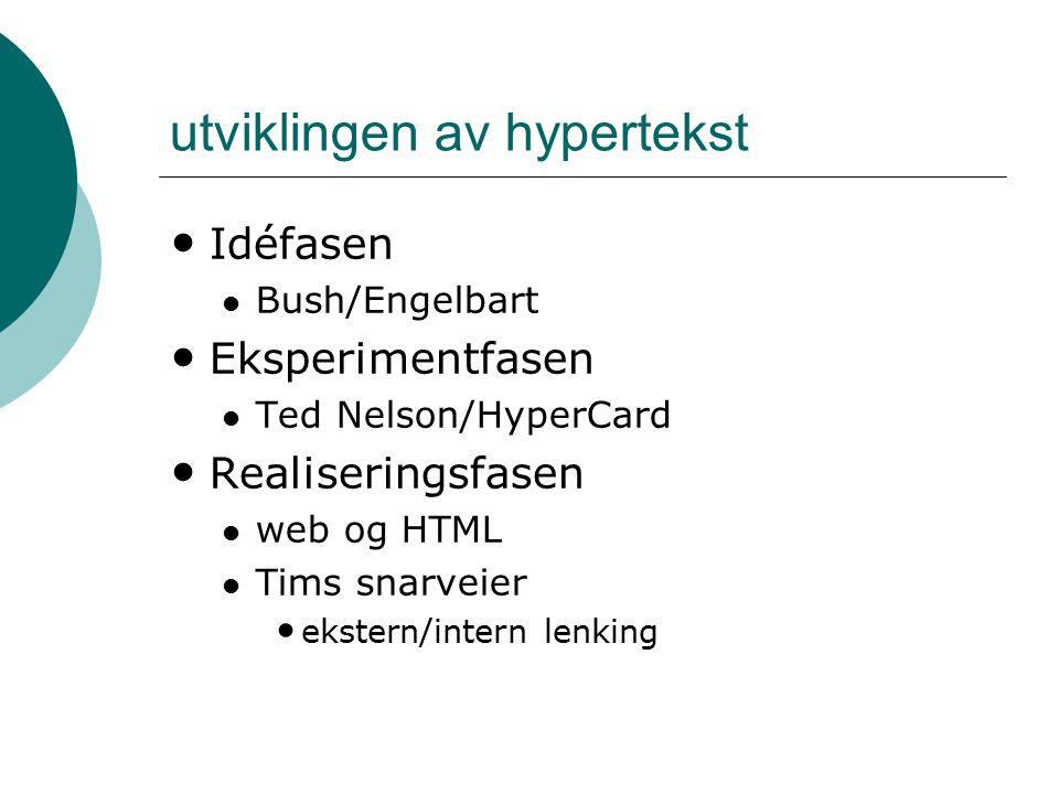 utviklingen av hypertekst Idéfasen Bush/Engelbart Eksperimentfasen Ted Nelson/HyperCard Realiseringsfasen web og HTML Tims snarveier ekstern/intern le