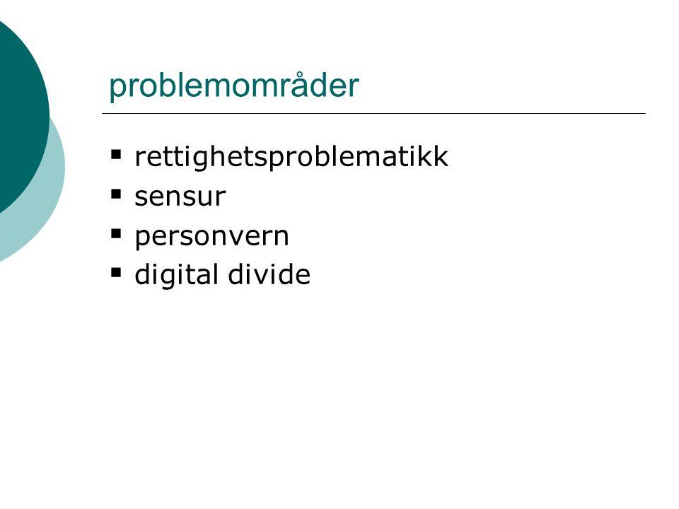 problemområder  rettighetsproblematikk  sensur  personvern  digital divide