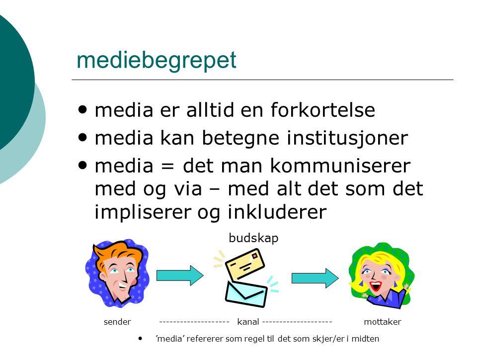 mediebegrepet media er alltid en forkortelse media kan betegne institusjoner media = det man kommuniserer med og via – med alt det som det impliserer og inkluderer 'media' refererer som regel til det som skjer/er i midten sendermottaker budskap -------------------- kanal --------------------