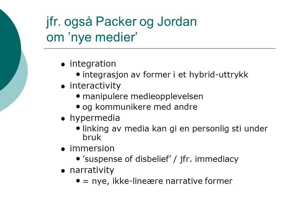 jfr. også Packer og Jordan om 'nye medier' integration integrasjon av former i et hybrid-uttrykk interactivity manipulere medieopplevelsen og kommunik