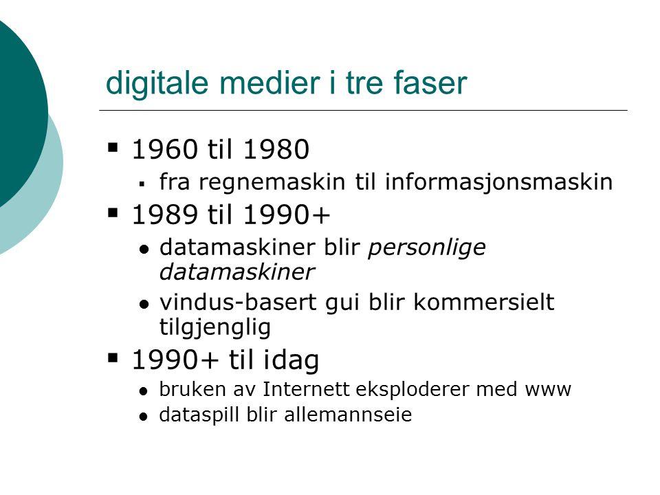 digitale medier i tre faser  1960 til 1980  fra regnemaskin til informasjonsmaskin  1989 til 1990+ datamaskiner blir personlige datamaskiner vindus-basert gui blir kommersielt tilgjenglig  1990+ til idag bruken av Internett eksploderer med www dataspill blir allemannseie