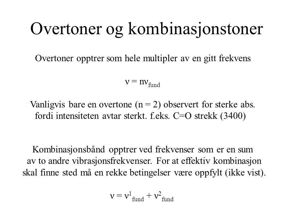 Overtoner og kombinasjonstoner Overtoner opptrer som hele multipler av en gitt frekvens ν = nν fund Vanligvis bare en overtone (n = 2) observert for sterke abs.