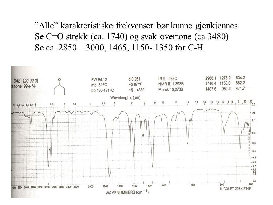 Alle karakteristiske frekvenser bør kunne gjenkjennes Se C=O strekk (ca.