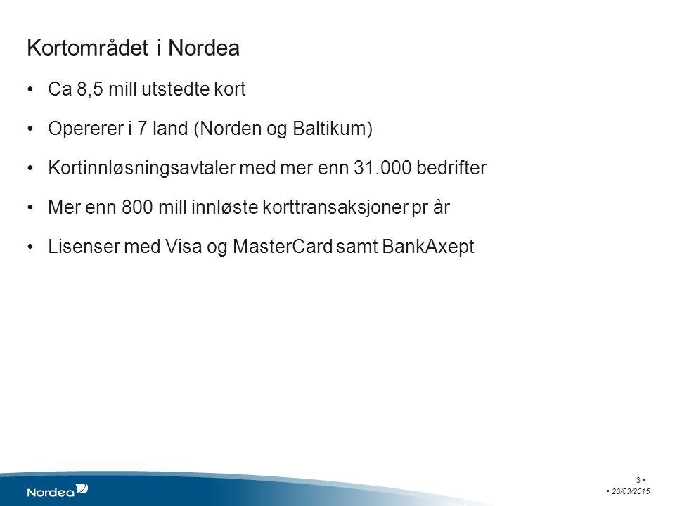 Kortområdet i Nordea Ca 8,5 mill utstedte kort Opererer i 7 land (Norden og Baltikum) Kortinnløsningsavtaler med mer enn 31.000 bedrifter Mer enn 800