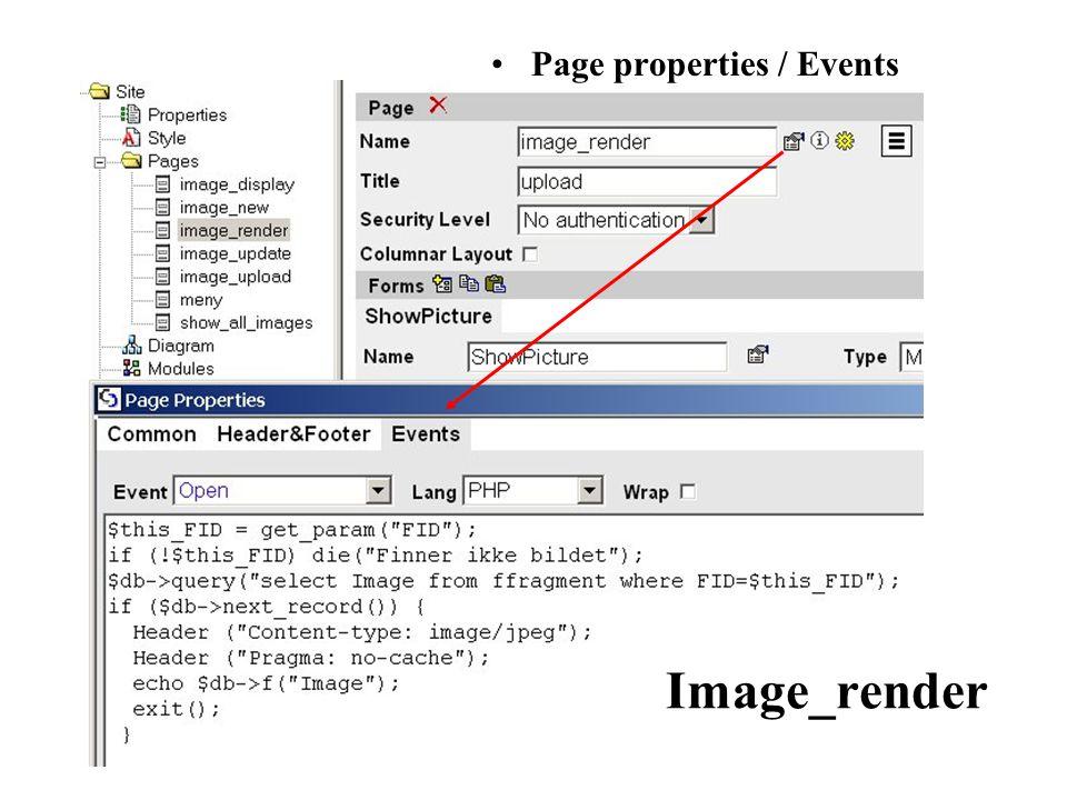 Image_show_all/ Form properties / Events Before Show Img src (posisjonsflagg slik at webleseren finner grafikkfilen) image_render.php siden viser bildet