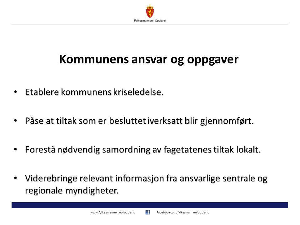 www.fylkesmannen.no/opplandFacebookcom/fylkesmannen/oppland Kommunens ansvar og oppgaver Etablere kommunens kriseledelse.
