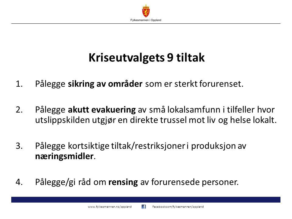www.fylkesmannen.no/opplandFacebookcom/fylkesmannen/oppland Kriseutvalgets 9 tiltak 1.Pålegge sikring av områder som er sterkt forurenset.