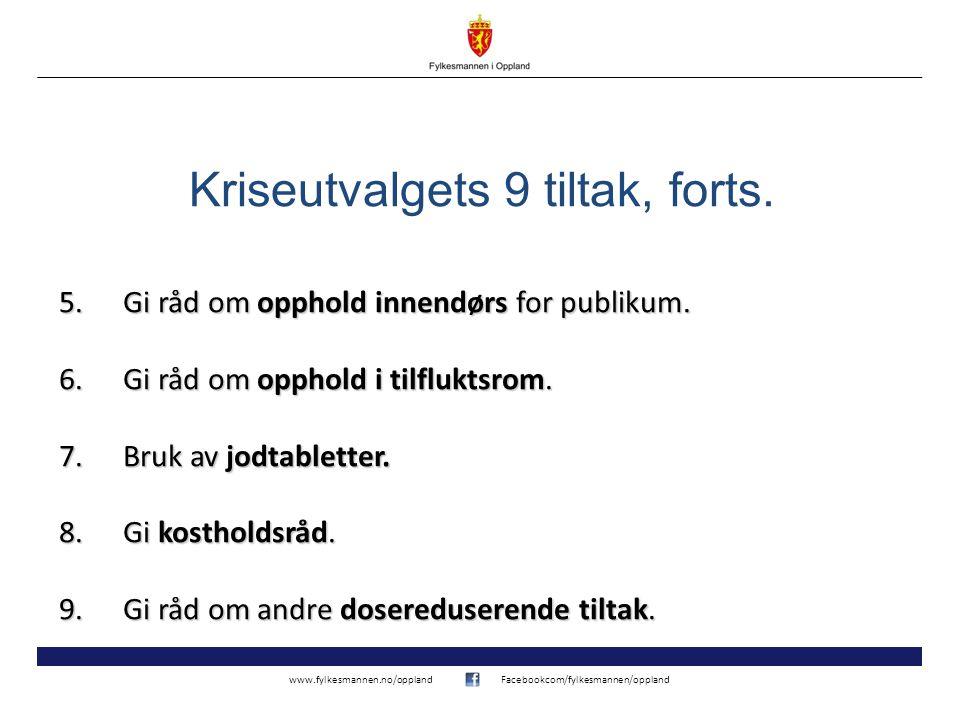 www.fylkesmannen.no/opplandFacebookcom/fylkesmannen/oppland 5.Gi råd om opphold innendørs for publikum.