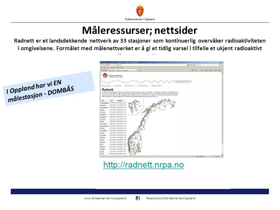 www.fylkesmannen.no/opplandFacebookcom/fylkesmannen/oppland Måleressurser; nettsider Radnett er et landsdekkende nettverk av 33 stasjoner som kontinuerlig overvåker radioaktiviteten i omgivelsene.