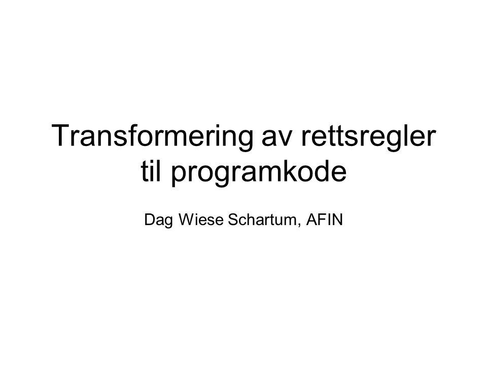 Transformering av rettsregler til programkode Dag Wiese Schartum, AFIN