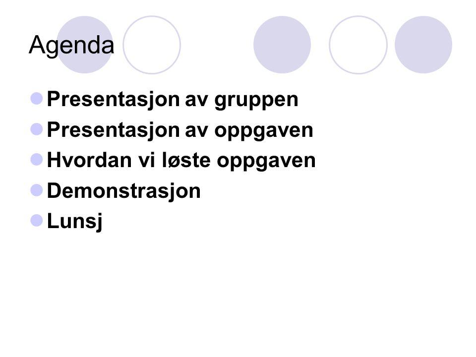 Agenda Presentasjon av gruppen Presentasjon av oppgaven Hvordan vi løste oppgaven Demonstrasjon Lunsj