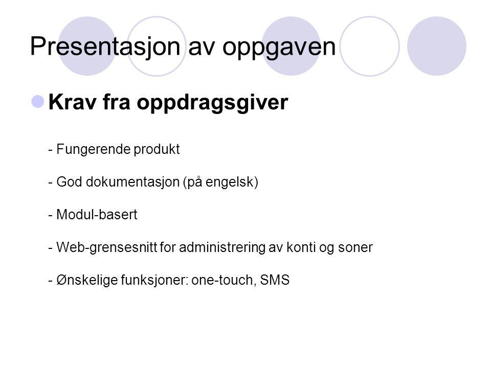 Presentasjon av oppgaven Krav fra oppdragsgiver - Fungerende produkt - God dokumentasjon (på engelsk) - Modul-basert - Web-grensesnitt for administrering av konti og soner - Ønskelige funksjoner: one-touch, SMS