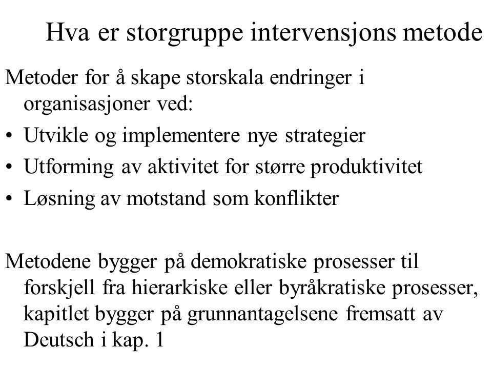 Hva er storgruppe intervensjons metode Metoder for å skape storskala endringer i organisasjoner ved: Utvikle og implementere nye strategier Utforming