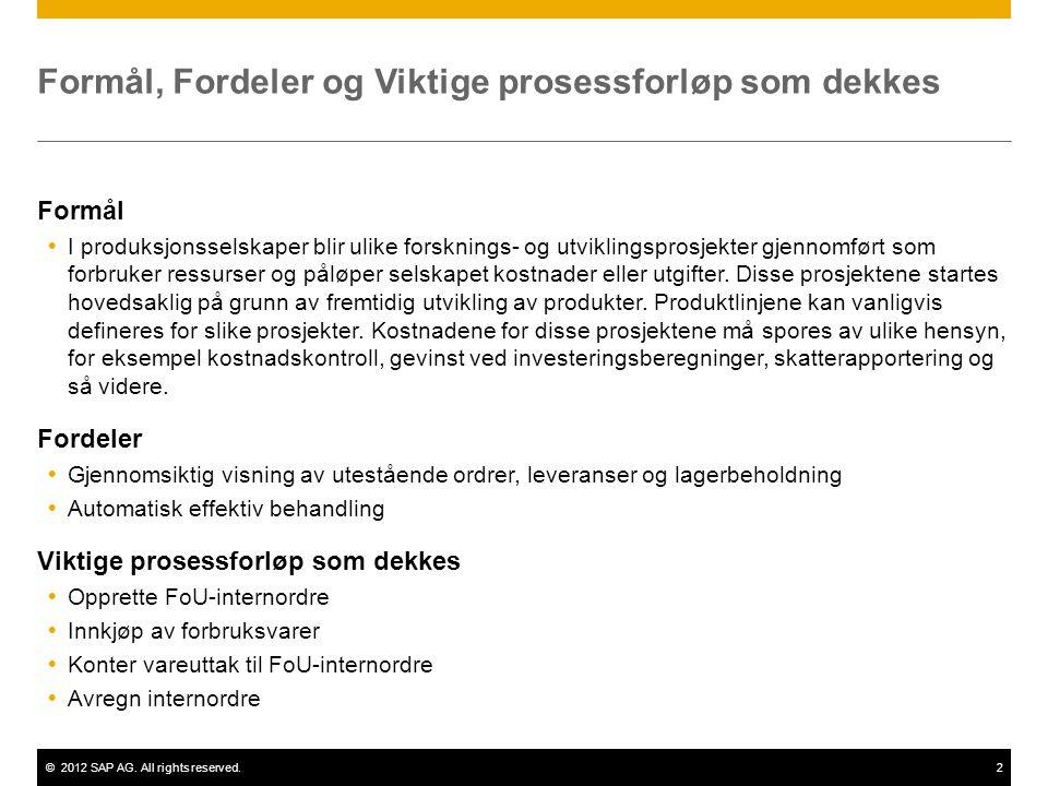 ©2012 SAP AG. All rights reserved.2 Formål, Fordeler og Viktige prosessforløp som dekkes Formål  I produksjonsselskaper blir ulike forsknings- og utv