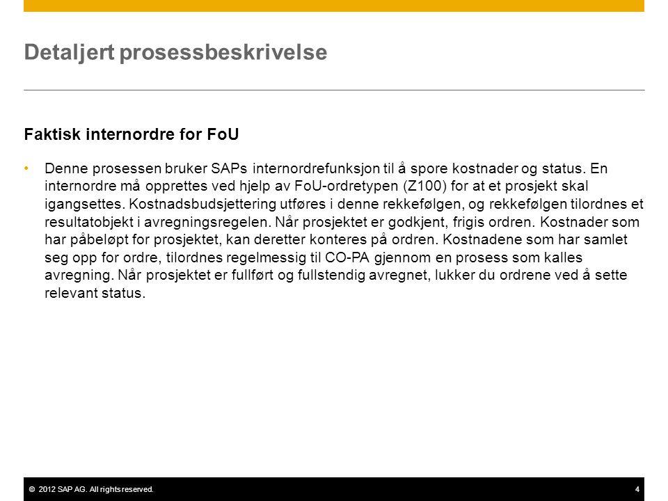©2012 SAP AG. All rights reserved.4 Detaljert prosessbeskrivelse Faktisk internordre for FoU Denne prosessen bruker SAPs internordrefunksjon til å spo
