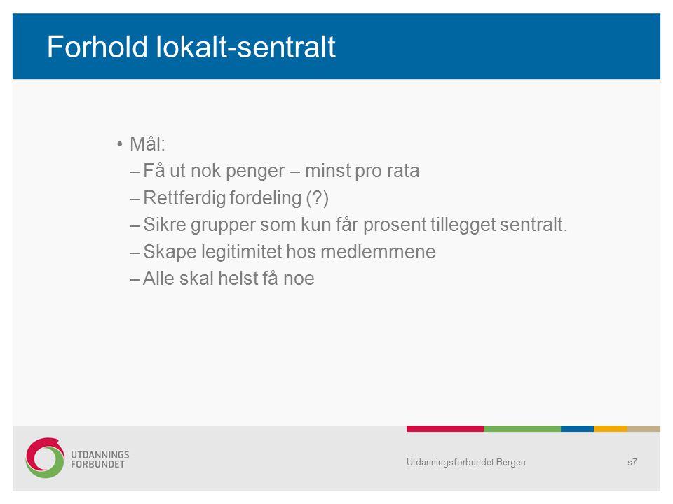 Forhold lokalt-sentralt Mål: –Få ut nok penger – minst pro rata –Rettferdig fordeling ( ) –Sikre grupper som kun får prosent tillegget sentralt.