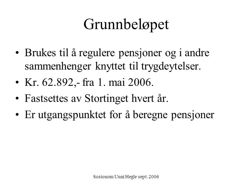 Sosionom Unni Hegle sept. 2006 Grunnbeløpet Brukes til å regulere pensjoner og i andre sammenhenger knyttet til trygdeytelser. Kr. 62.892,- fra 1. mai