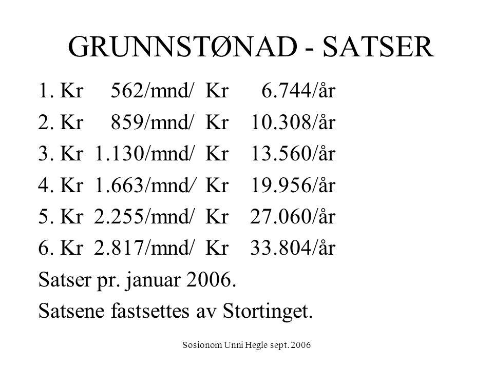 Sosionom Unni Hegle sept. 2006 GRUNNSTØNAD - SATSER 1. Kr 562/mnd/ Kr 6.744/år 2. Kr 859/mnd/ Kr 10.308/år 3. Kr 1.130/mnd/ Kr 13.560/år 4. Kr 1.663/m