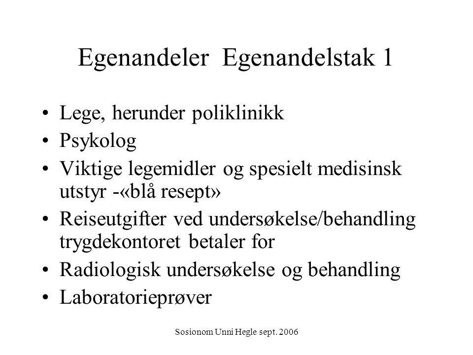 Sosionom Unni Hegle sept. 2006 Egenandeler Egenandelstak 1 Lege, herunder poliklinikk Psykolog Viktige legemidler og spesielt medisinsk utstyr -«blå r