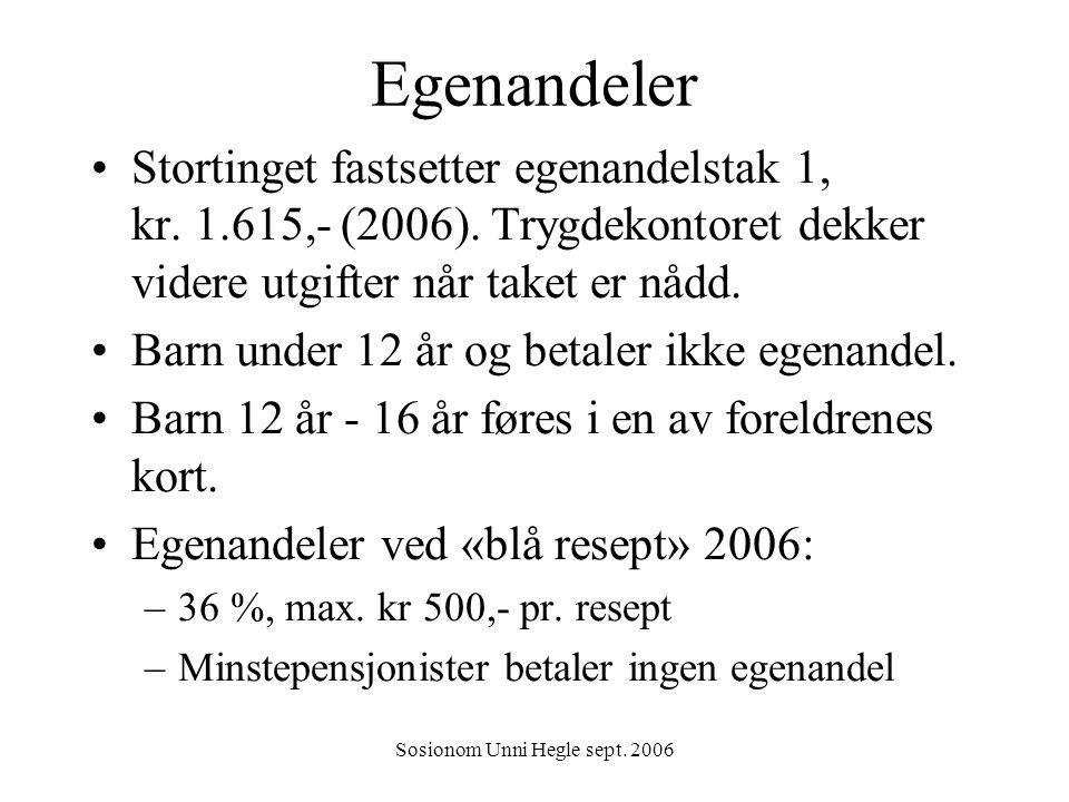 Sosionom Unni Hegle sept. 2006 Egenandeler Stortinget fastsetter egenandelstak 1, kr. 1.615,- (2006). Trygdekontoret dekker videre utgifter når taket