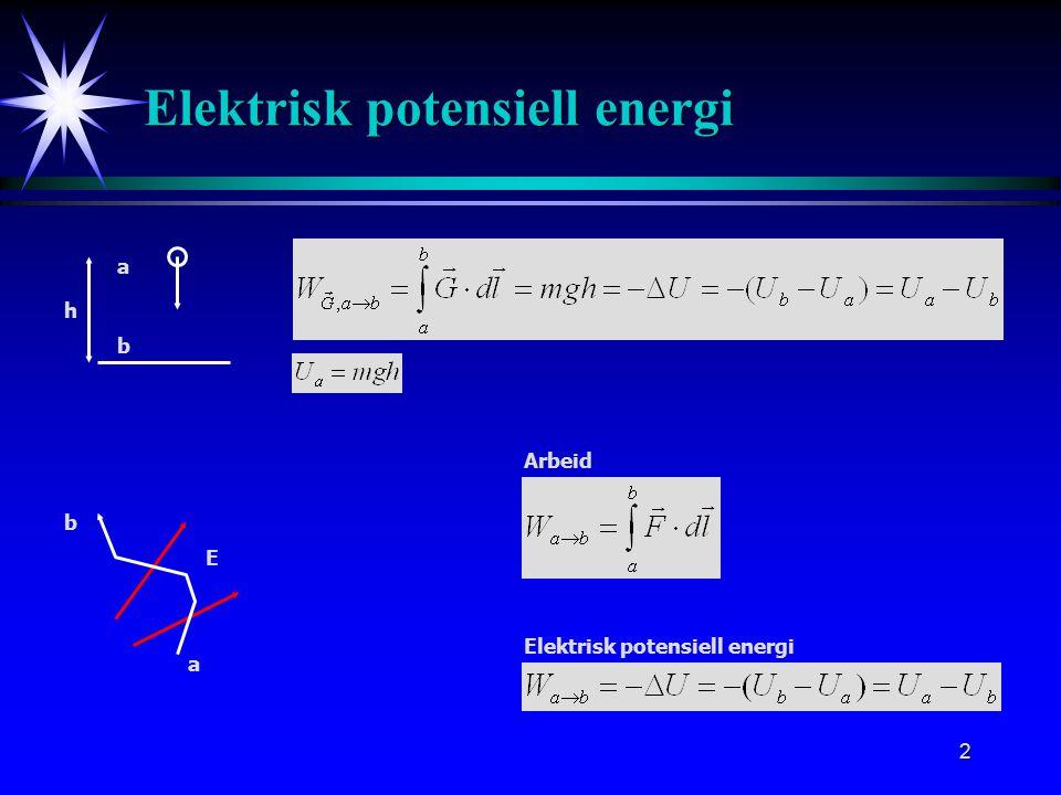 2 Elektrisk potensiell energi Arbeid E a b Elektrisk potensiell energi a b h
