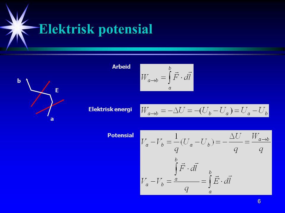 6 Elektrisk potensial Arbeid E a b Elektrisk energi Potensial