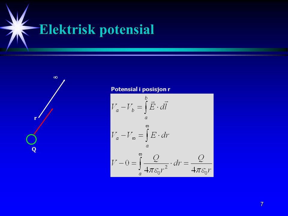 7 Elektrisk potensial r Potensial i posisjon r Q 