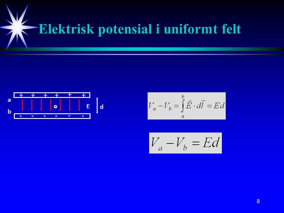 8 Elektrisk potensial i uniformt felt ++++ + + ---- - - E a b d