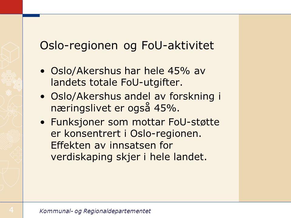 Kommunal- og Regionaldepartementet 4 Oslo-regionen og FoU-aktivitet Oslo/Akershus har hele 45% av landets totale FoU-utgifter. Oslo/Akershus andel av