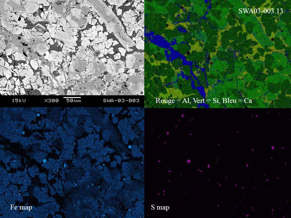 Rouge = Al, Vert = Si, Bleu = Ca Fe mapS map SWA03-003.13
