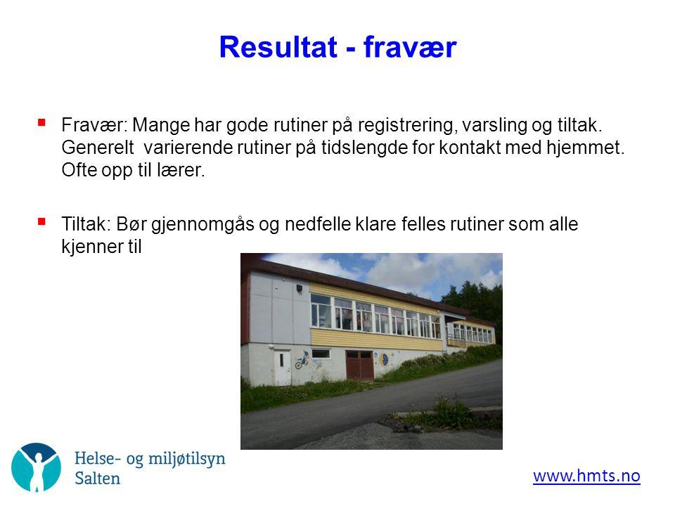 Resultat - fravær  Fravær: Mange har gode rutiner på registrering, varsling og tiltak.