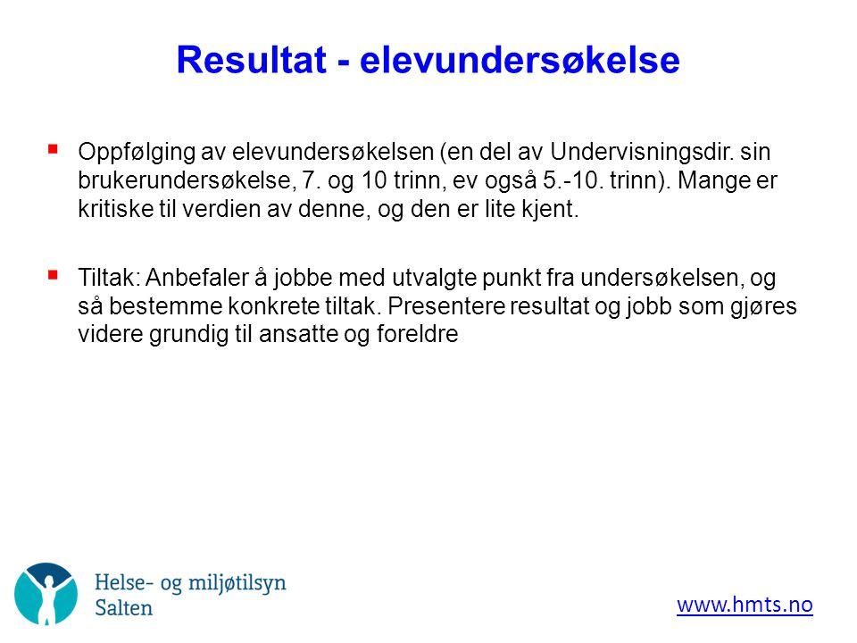 Resultat - elevundersøkelse  Oppfølging av elevundersøkelsen (en del av Undervisningsdir.