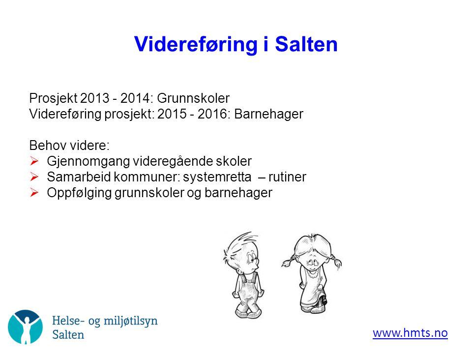 Videreføring i Salten www.hmts.no Prosjekt 2013 - 2014: Grunnskoler Videreføring prosjekt: 2015 - 2016: Barnehager Behov videre:  Gjennomgang videreg