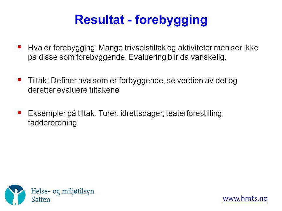 Resultat - mobbing  Rutiner ved mobbing/krenkende atferd: Tydelig definisjon – rutiner og oversikt.