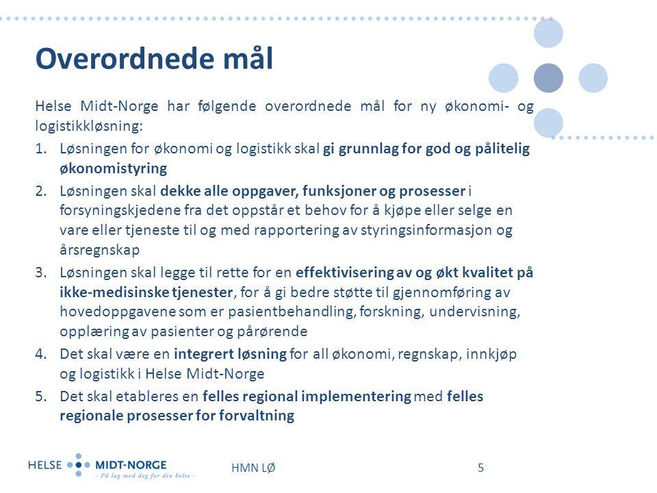 Overordnede mål Helse Midt-Norge har følgende overordnede mål for ny økonomi- og logistikkløsning: 1.Løsningen for økonomi og logistikk skal gi grunnl
