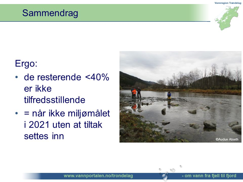 Ergo: de resterende <40% er ikke tilfredsstillende = når ikke miljømålet i 2021 uten at tiltak settes inn Sammendrag ©Audun Alseth