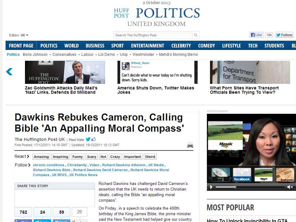 Dawkins: Et forferdelig moralsk kompass Bibelen er et forferdelig moralsk kompass når du tenker deg om.