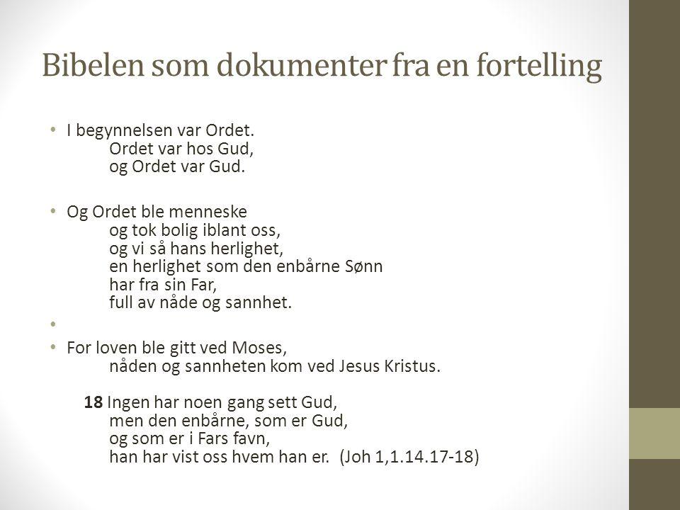 Bibelen som dokumenter fra en fortelling I begynnelsen var Ordet. Ordet var hos Gud, og Ordet var Gud. Og Ordet ble menneske og tok bolig iblant oss,