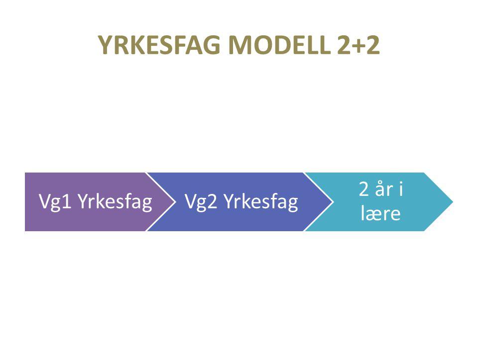YRKESFAG MODELL 2+2 Vg1 YrkesfagVg2 Yrkesfag 2 år i lære