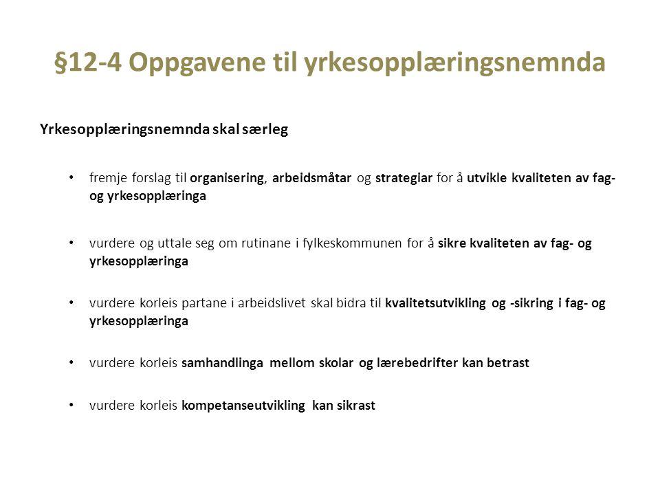 §12-4 Oppgavene til yrkesopplæringsnemnda Yrkesopplæringsnemnda skal særleg fremje forslag til organisering, arbeidsmåtar og strategiar for å utvikle