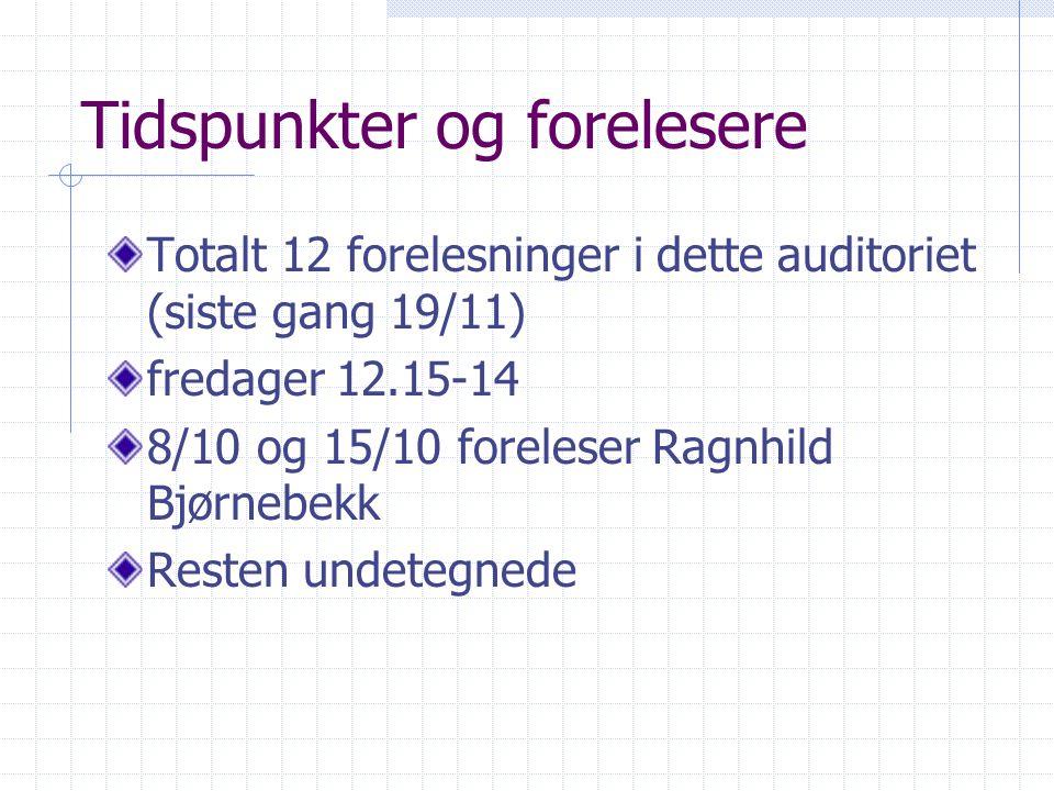 Tidspunkter og forelesere Totalt 12 forelesninger i dette auditoriet (siste gang 19/11) fredager 12.15-14 8/10 og 15/10 foreleser Ragnhild Bjørnebekk