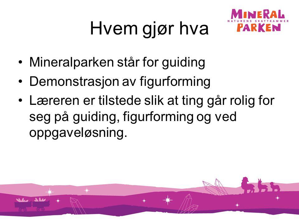 Hvem gjør hva Mineralparken står for guiding Demonstrasjon av figurforming Læreren er tilstede slik at ting går rolig for seg på guiding, figurforming og ved oppgaveløsning.