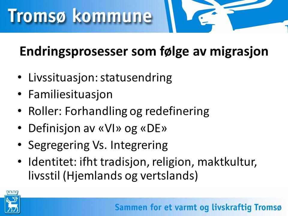 Endringsprosesser som følge av migrasjon Livssituasjon: statusendring Familiesituasjon Roller: Forhandling og redefinering Definisjon av «VI» og «DE»