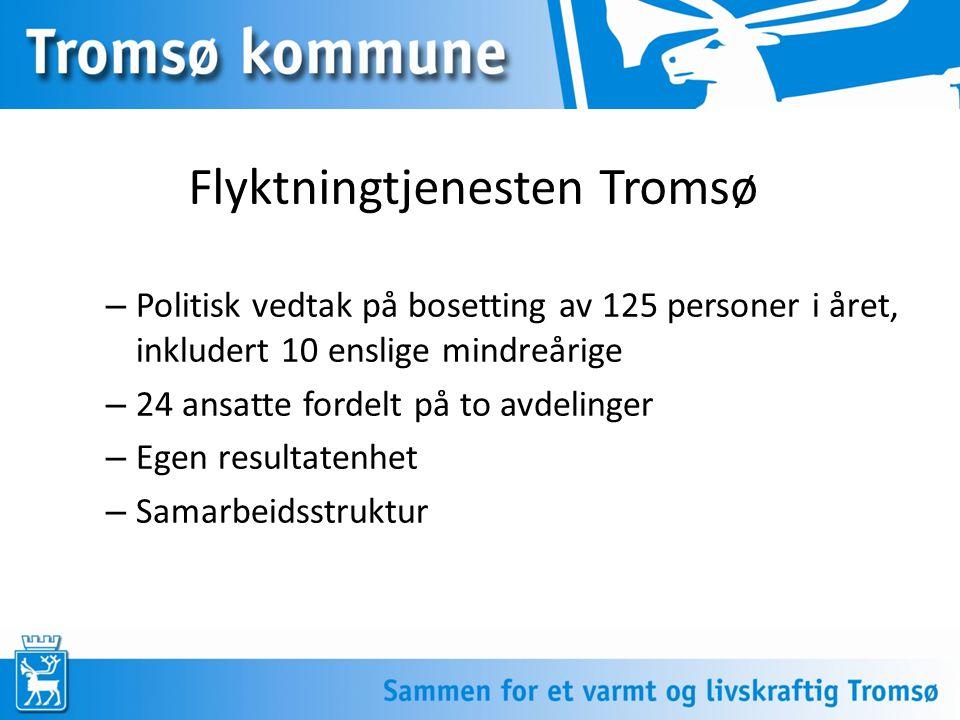 Flyktningtjenesten Tromsø – Politisk vedtak på bosetting av 125 personer i året, inkludert 10 enslige mindreårige – 24 ansatte fordelt på to avdelinge