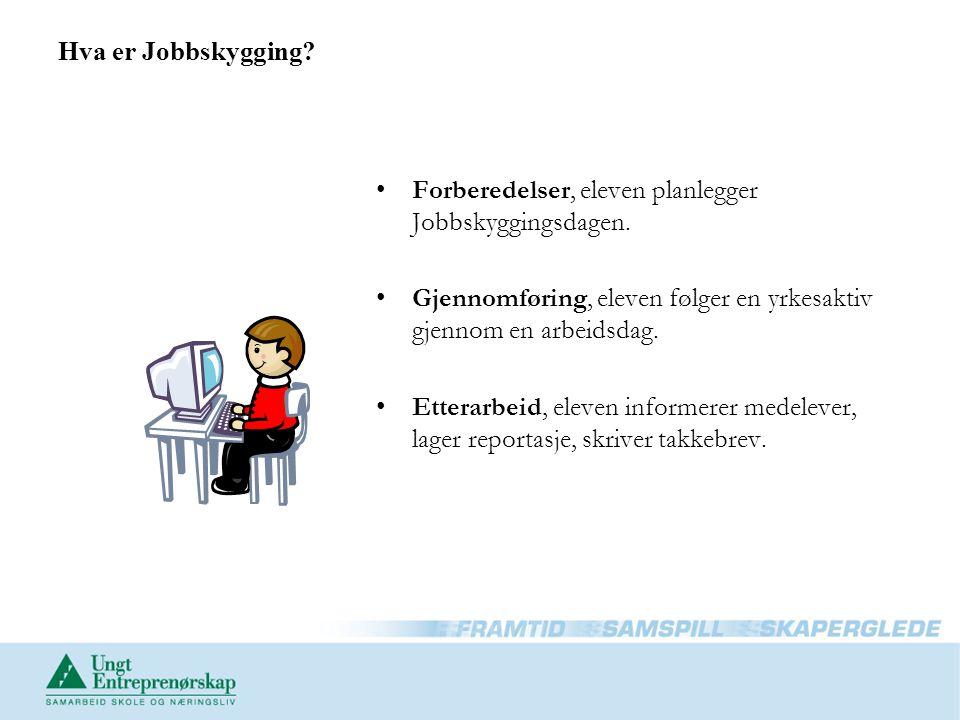 Hva er Jobbskygging? Forberedelser, eleven planlegger Jobbskyggingsdagen. Gjennomføring, eleven følger en yrkesaktiv gjennom en arbeidsdag. Etterarbei