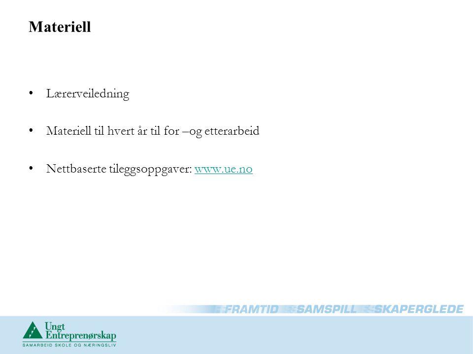 Materiell Lærerveiledning Materiell til hvert år til for –og etterarbeid Nettbaserte tileggsoppgaver: www.ue.nowww.ue.no