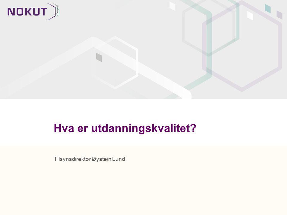 Fra et samfunnsperspektiv: NOKUTs arbeid skal bidra til at samfunnet kan ha tillit til kvaliteten i norsk høyere utdanning, Samfunnet skal kunne ha tillit til at det er høy kvalitet på relevans og kompetanse i studentenes faktiske læringsutbytte Samfunnet skal kunne ha tillit til at utdanninger som tilbys tilbyr det beste av faglig utdanning innenfor områdene, og at norsk utdanning ligger på et høyt internasjonalt nivå